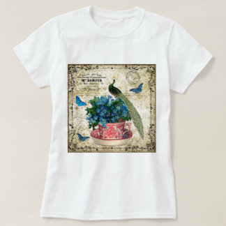 Vintage Peacock on a Cup of Tea Wall Art Shirt