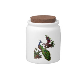 Vintage Peacock on Branch Apparel and Gifts Candy Jar