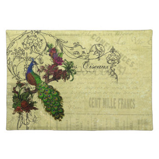 Vintage Peacock on Branch Apparel and Gifts Cloth Placemat
