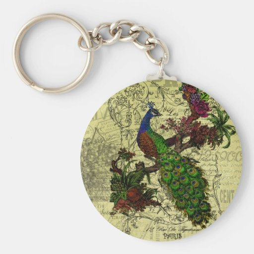 Vintage Peacock on Branch Apparel and Gifts Key Chains