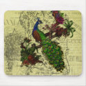 Vintage Peacock on Branch Apparel and Gifts Mouse Pads
