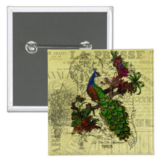 Vintage Peacock on Branch Apparel and Gifts Pinback Button