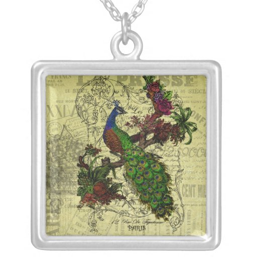 Vintage Peacock on Branch Apparel and Gifts Square Pendant Necklace