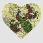 Vintage Peacock on Branch Apparel and Gifts Heart Sticker