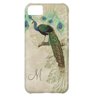 Vintage Peacock on Branch, Feathers Etching Swirl iPhone 5C Cover