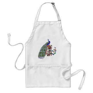 Vintage Peacock on cage Adult Apron