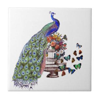 Vintage Peacock on cage Ceramic Tile
