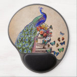 """Vintage Peacock on cage Gel Mouse Pad<br><div class=""""desc"""">Beautiful vintage peacock on cage with flowers and butterflies.</div>"""