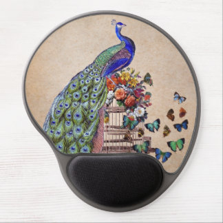Vintage Peacock on cage Gel Mouse Pad