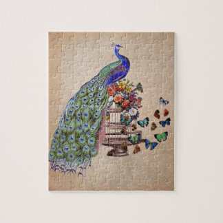 Vintage Peacock on cage Jigsaw Puzzle