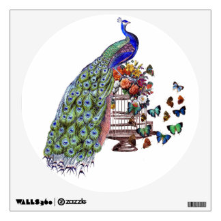 Vintage Peacock on cage Wall Sticker