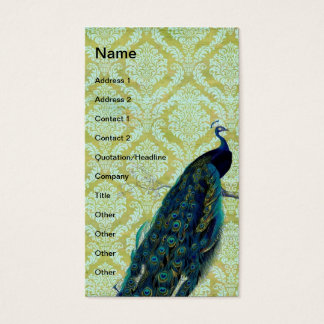 Vintage Peacock on Damask Pattern Business Card