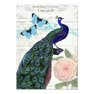 Vintage Peacock on French Ephemera Collage Card