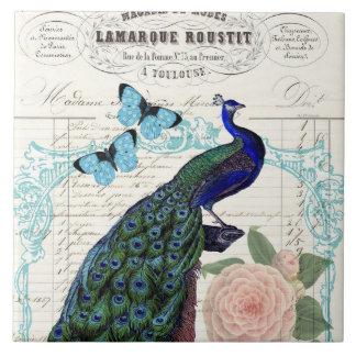 Vintage Peacock on French Ephemera Collage Ceramic Tile