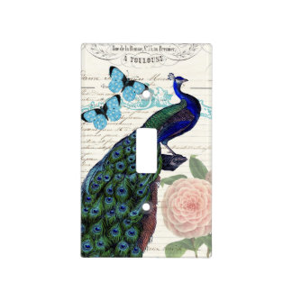 Vintage Peacock on French Ephemera Collage Light Switch Cover