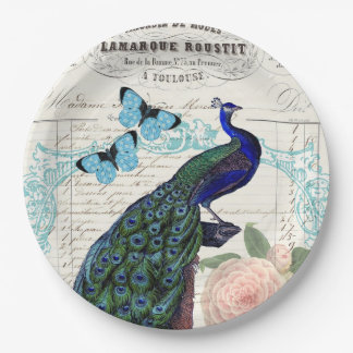 Vintage Peacock on French Ephemera Collage Paper Plate