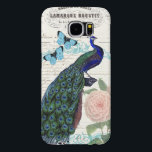 "Vintage Peacock on French Ephemera Collage Samsung Galaxy S6 Case<br><div class=""desc"">This is a vintage illustration of a beautiful peacock with a background of antique French ephemera – a bill from a clothing boutique. With a blue ornate frame,  blue butterflies and pink flowers this makes a pretty collage for a protective case for your gadgets.</div>"