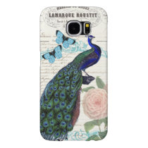 Vintage Peacock on French Ephemera Collage Samsung Galaxy S6 Case