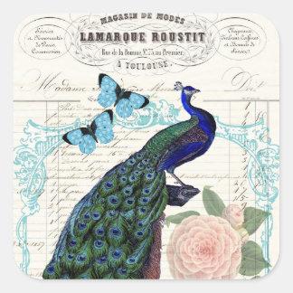 Vintage Peacock on French Ephemera Collage Square Sticker