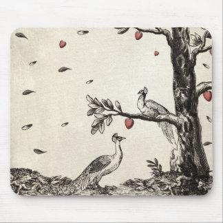 Vintage Peacock on Love Tree Mousepads