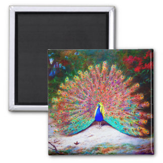 Vintage Peacock Painting 2 Inch Square Magnet