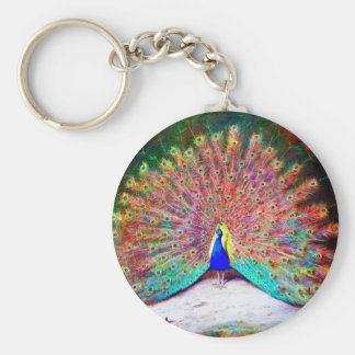Vintage Peacock Painting Basic Round Button Keychain