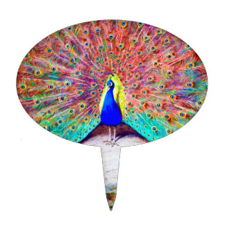 Vintage Peacock Painting Cake Topper