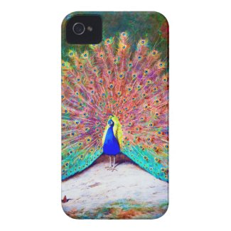 VINTAGE PEACOCK PAINTING TOUGH IPHONE 4 CASES