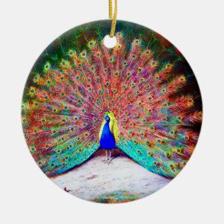 Vintage Peacock Painting Ceramic Ornament