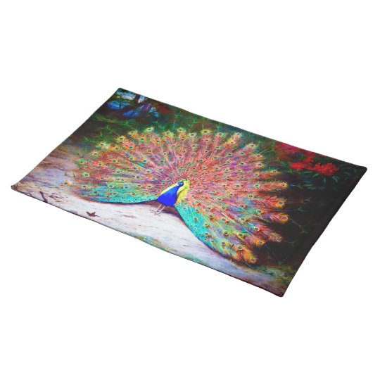 Vintage Peacock Painting Cloth Placemat
