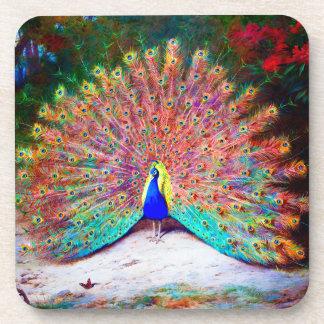 Vintage Peacock Painting Coaster
