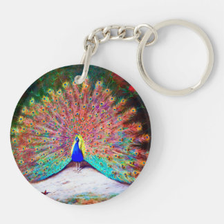 Vintage Peacock Painting Double-Sided Round Acrylic Keychain