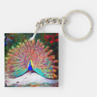 Vintage Peacock Painting Double-Sided Square Acrylic Keychain