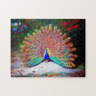 Vintage Peacock Painting Jigsaw Puzzle
