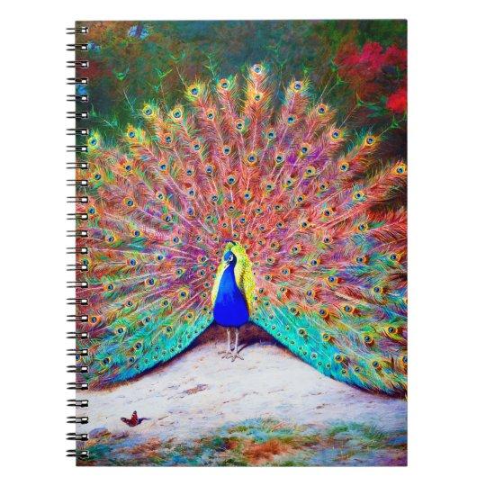 Vintage Peacock Painting Notebook