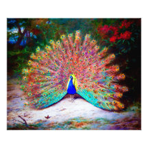 Vintage Peacock Painting Photograph