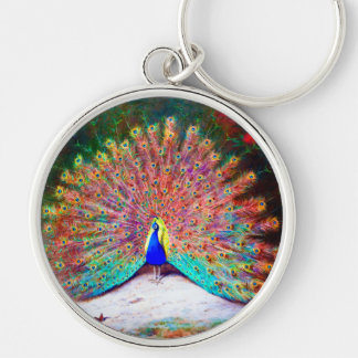 Vintage Peacock Painting Silver-Colored Round Keychain