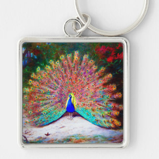 Vintage Peacock Painting Silver-Colored Square Keychain