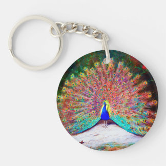 Vintage Peacock Painting Single-Sided Round Acrylic Keychain