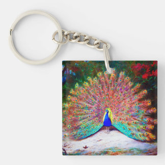 Vintage Peacock Painting Single-Sided Square Acrylic Keychain
