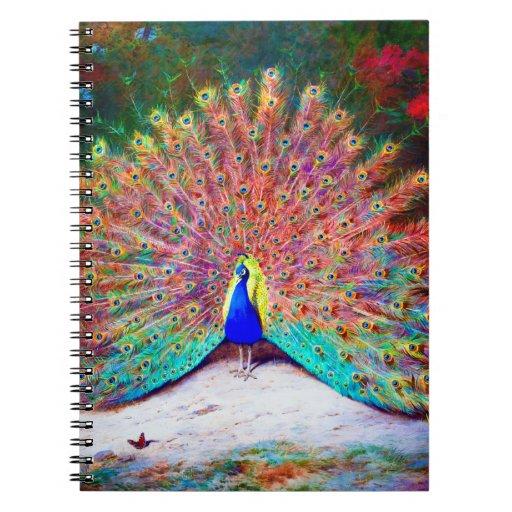 Vintage Peacock Painting Spiral Notebook