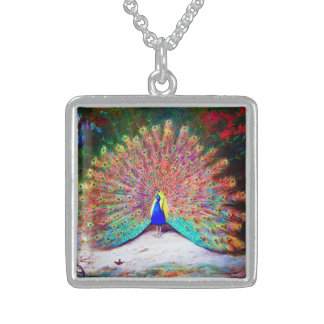 Vintage Peacock Painting Square Pendant Necklace
