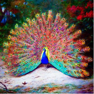 Vintage Peacock Painting Statuette