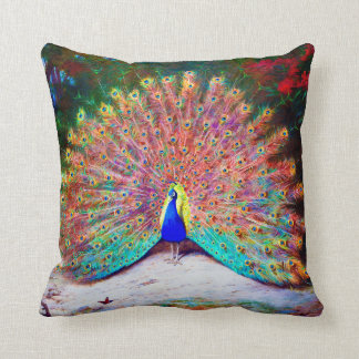 Vintage Peacock Painting Throw Pillow