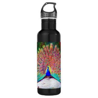 Vintage Peacock Painting Water Bottle