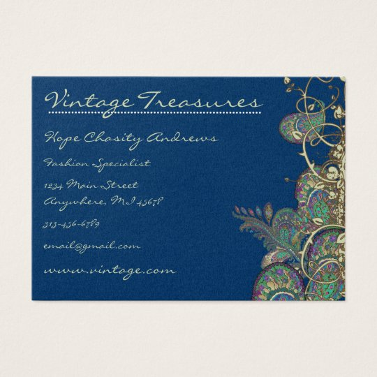 Vintage Peacock Paisleys Swirl Design Business Card