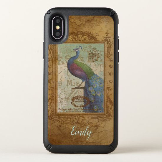 Vintage Peacock Personalized iPhone X Case