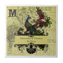 Vintage Peacock Personalized Tile