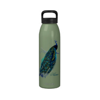 Vintage Peacock Personalized Water Bottles