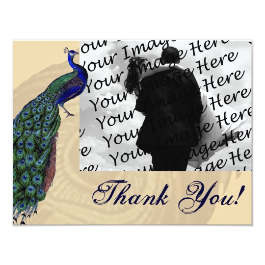 Vintage Peacock Photo Thank You Cards